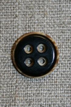 4-huls knap sort m/træ-look kant
