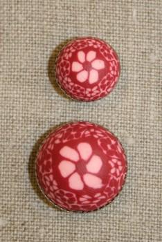 Knap m/malede blomster, rosa