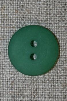 Grøn 2-huls knap, 18 mm.