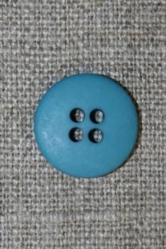 Blå-petrol 4-huls knap, 15 mm.