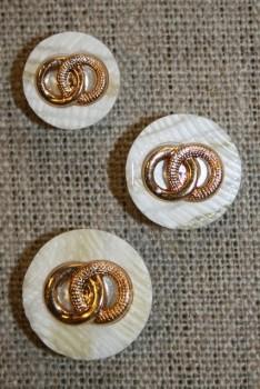 Knap perlemors-look m/guld ringe
