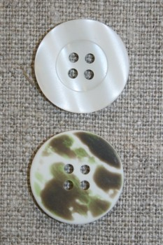 4-huls knap knækket hvid/camuflage, 20 mm.