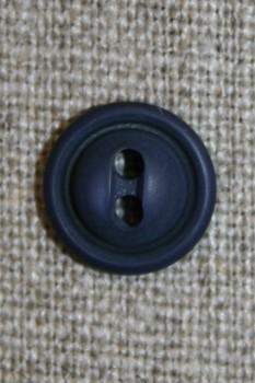 Blå 2-huls knap, 12 mm.