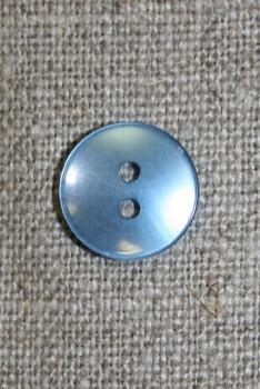 Lyseblå blank 2-huls knap, 13 mm.