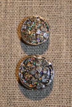 Patent-knapper m/glimmer, sølv 20 mm.