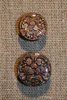 Patent-knapper m/glimmer, kobber 20 mm.
