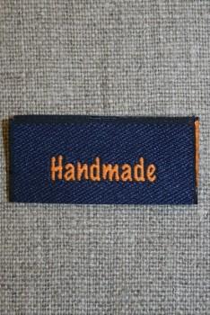 """Blå/orange mærke """"Handmade"""""""