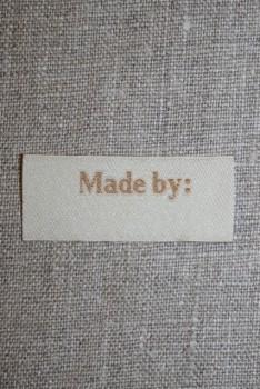 """Beige mærke """"Made by"""""""