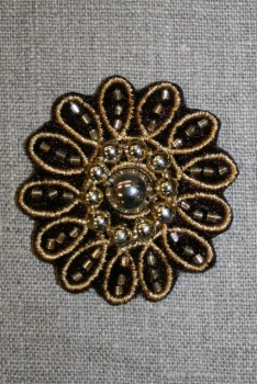 Motiv blomst sort/guld