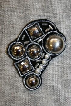 Motiv dråbe sort m/perler/nitter