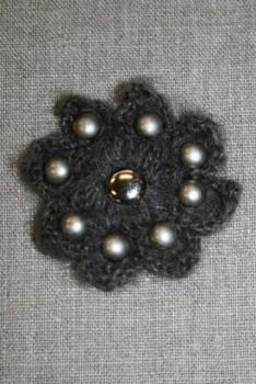 Hæklet blomst m/nitter, mørk grå-brun