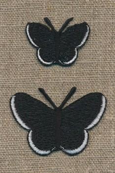 Strygemærke m/2 sommerfugle, sort