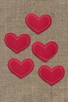 5 stk. Strygemærke rødt hjerte, 28x22 mm.
