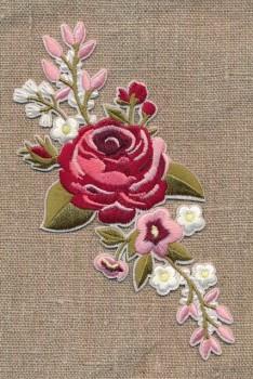 Motiv m/stor blomst, lyserød/støvet grøn