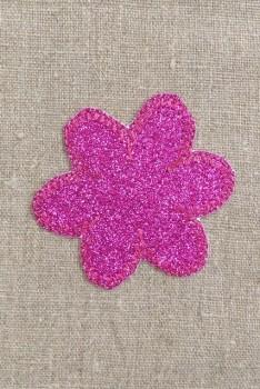 Motiv med blomst i glimmer i pink