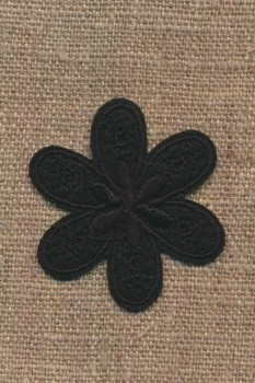 Motiv med blomst i sort