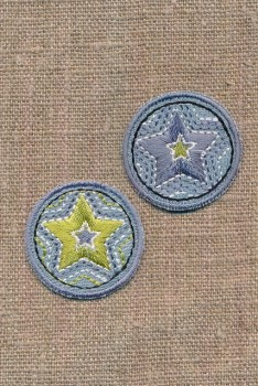 2 cirkler med stjerner i denim