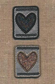 Strygemærke med 2 hjerter med glimmer