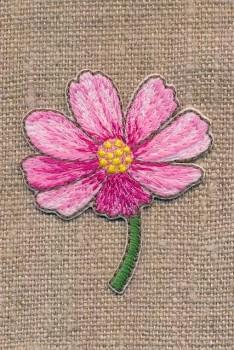 Strygemærke med blomst på stilk i pink