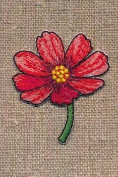 Strygemærke med blomst på stilk i rød