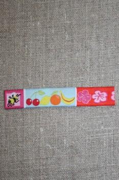 Aflangt mærke m/bi/frugt/blomster