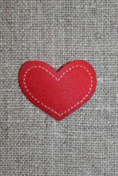 Strygemærke rødt hjerte, 28x22 mm.