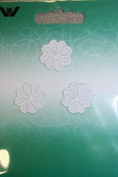 3 små blomster, hvid