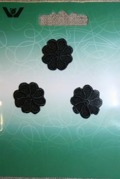 3 små blomster, sort