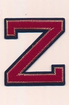 Z - Bogstaver til påstrygning i mørk rød og marine, 75 mm.