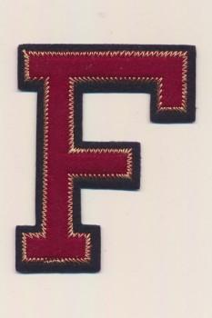 F- Bogstaver til påstrygning i mørk rød og marine, 75 mm.