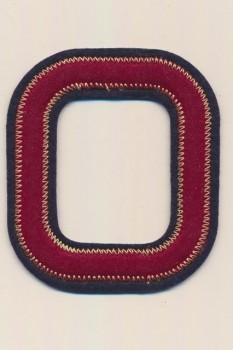 O - Bogstaver til påstrygning i mørk rød og marine, 75 mm.