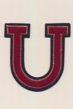 U - Bogstaver til påstrygning i mørk rød og marine, 75 mm.