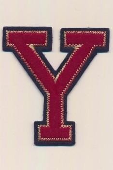 Y - Bogstaver til påstrygning i mørk rød og marine, 75 mm.