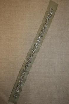 Organza-bånd m/perler, støvet grøn