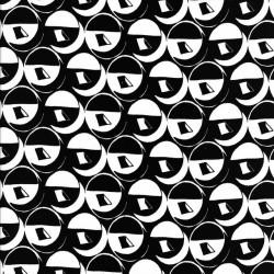 Bomuldssatin stretch med sort og hvid cirkel mønster