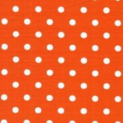 Rest Bomulds-poplin m/hvide prikker, orange, 50 cm.