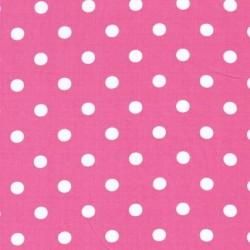 Rest Bomulds-poplin m/hvide prikker, pink, 50 cm.