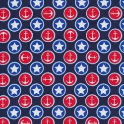 Rest Mørkeblå bomuld m/cirkler m/stjerner/anker, 50 cm.