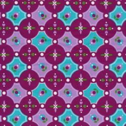 Bomuld m/cirkler/mønster cerisse/aqua/lyselilla