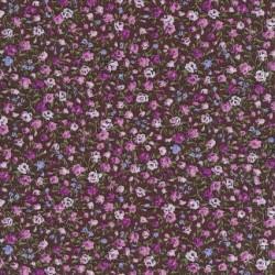 Småblomstret bomuld brun/cerisse/rosa