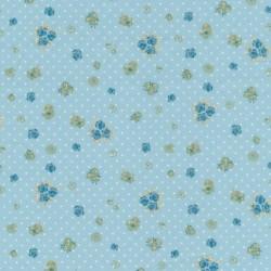 Bomuld m/blomst/prik, lys turkis-blå