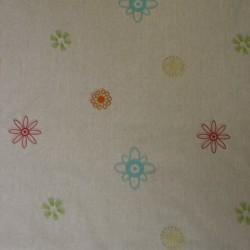 Rest Hvid bomuld m/blomster lime/turkis/rød, 100 cm.