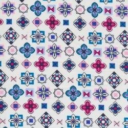 Rest Bomuld m/blomst/firkant, hvid, 50 cm.