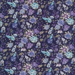 Bomulds-poplin med blomster mørkeblå/denim/lilla