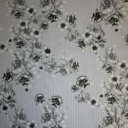 Bomuld stribet lyseblå og hvid med blomster