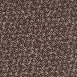 Bomulds-poplin med blomster, mørkebrun og hvid