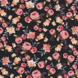 Bomulds poplin med roser, sort og rosa