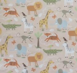 Bomuld i sand med safari dyr