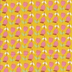 Bomulds-poplin carry-gul med lyserøde blomster