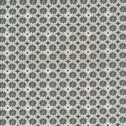 Bomuld med cirkel og blomst i grå og hvid.